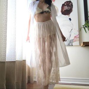 Lace boho cream maxi skirt w/built-in shorts